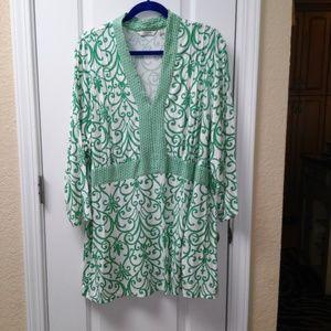 Liz Claiborne New York 3/4 Sleeve Twin Print Knit